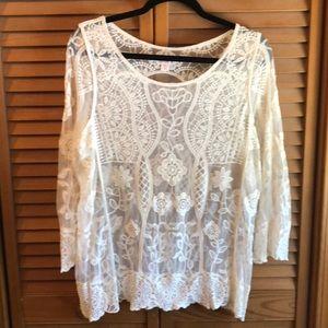 Xhilaration Women's ivory Lace Top Size XXL
